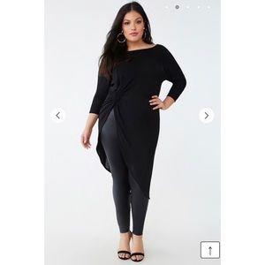 Plus Size Black Asymmetrical Twist-Front Tunic 3x
